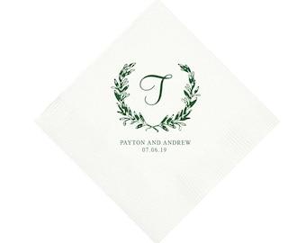 Wedding napkins, Personalized napkins, Wedding reception napkins, Greenery laurel napkins, Engagement party napkins, Wedding shower napkins