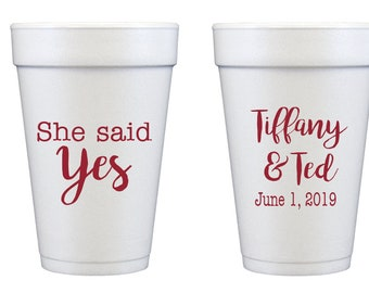 She said yes, Engagement party cups, Surprise engagement party, She said yes cups, Personalized wedding shower cups, Couples shower cups