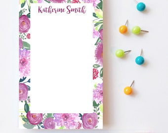 Floral notepad, Monogrammed notepad, Personalized notepad, Custom floral notepad, Customizable notepad, Floral desk decor, Mothers day gift