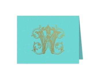 Monogrammed stationery, Foil stamped stationery, Personalized stationery set, Monogram folded notecards, Gold foil stationery, Notecard set