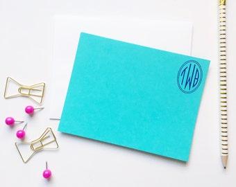 foil stamped notecards, monogrammed stationery set, oval monogram notecards, notecard set, personalized stationery, wedding stationery