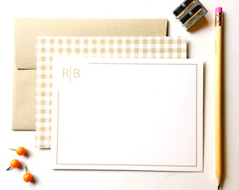 Gingham personalized notecards, Personalized stationery set, flat notecards,   Masculine stationery, paper goods, kraft note cards