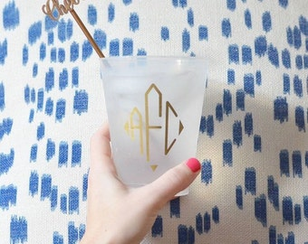 Monogrammed frosted cup, Personalized shatterproof cup, monogrammed party favor, wedding cups, reception cups, personalized plastic cups
