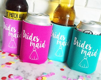 Bridesmaid can cooler, bachelorette can cooler, bridesmaid huggie, bridesmaid proposal, will you be my bridesmaid,  hugger, drink sleeve