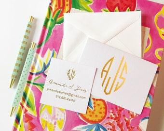 monogrammed stationery set, foil stamped monogrammed notecards, calling card set, personalized stationery, personalized folded notecards