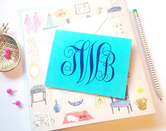 Monogrammed stationery, Monogram stationery, Foil stamped stationery, Script monogram notecards, Gold foil stationery, Wedding stationery