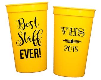 Staff Appreciation Cups Teacher Appreciation Cups High School Graduation Cups Teacher of the Year Celebration Personalized plastic cups