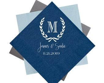 Wedding napkins, Monogrammed wedding napkins, Monogrammed napkins, reception napkins, Foil stamped napkins, Beverage napkins, Floral napkin