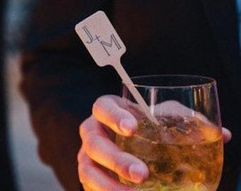 Monogrammed wedding drink stirrers , wooden drink stirrer, monogrammed stirrer stick, custom stirrers, barcart supplies