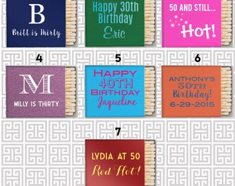 Birthday party matchbooks, party favor matches, birthday matches, adult party favor matchbook, birthday party favor, personalized matches