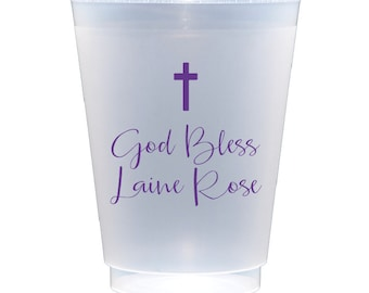 Baptism cups, Christening cups, First communion cups, Confirmation cups, Baby baptism, God bless, Personalized shatterproof cups, Kids party