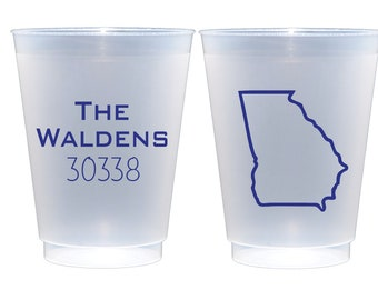 Zip code cups, State outline cups, Housewarming cups, Housewarming party favor, Housewarming decor, Housewarming gift, Pool party cups