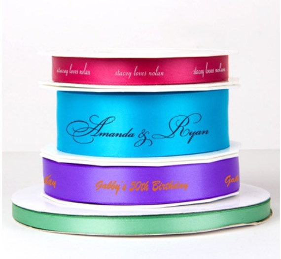 personalized ribbon, custom ribbon, satin ribbon, gift box ribbon, foil stamped ribbon, reception favor ribbon, decorative ribbon