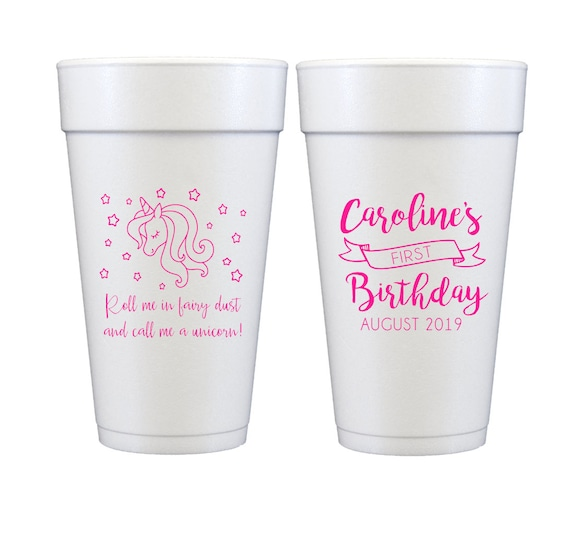 Unicorn cups, Unicorn birthday cups, Unicorn first birthday, Unicorn theme party, Personalized foam cups, Personalized first birthday cups