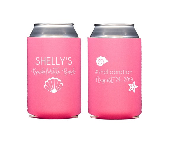 Bachelorette can cooler, Bachelorette hugger, Beach bachelorette party, Beach bachelorette bash, Personalized coozie, Bachelorette favor