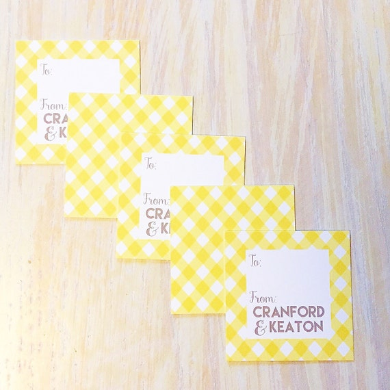 Enclosure card, monogrammed gift tag, personalized gift tag, kids enclosure card, gingham stationery, childrens stationery, square card