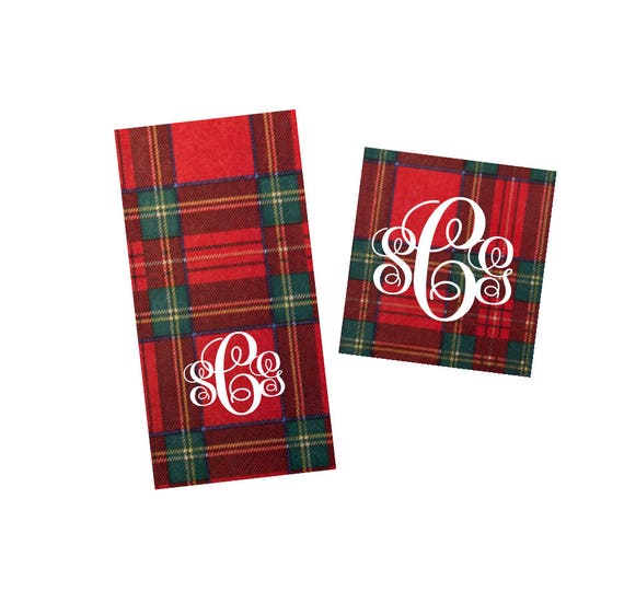 Christmas napkins, Holiday napkins, Christmas plaid napkins, Monogrammed napkins, Festive napkins, Holiday decor, Hostess gift idea