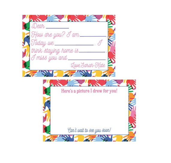 Kids fill in the blank notes, Social distancing cards, Quarantine Cards, Kids fill in the blank note, Kids stationery, Kids notecards
