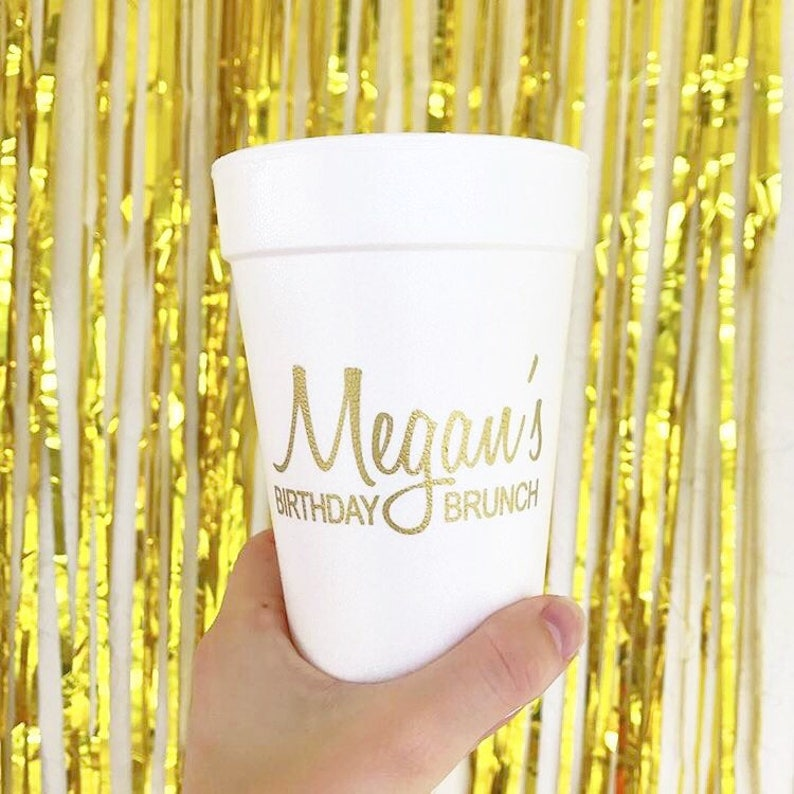monogrammed foam cups personalized birthday cups Breakfast party cups Birthday brunch cups birthday party cups personalized foam cups