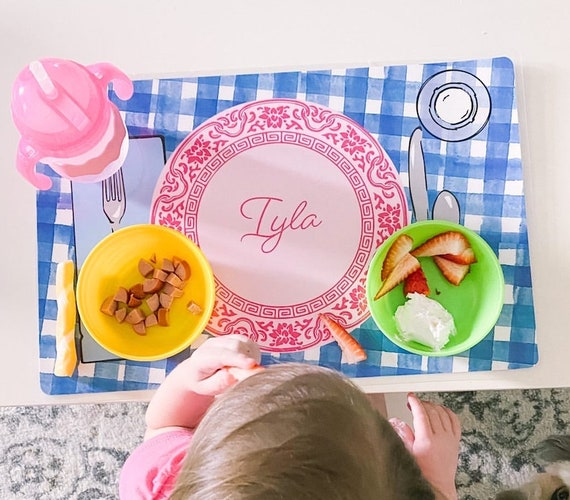 Personalized placemat, Kids Personalized Placemat, Gingham placemat, Customized Placemats for kids, Kids Placemat, Personalized Kids Gift
