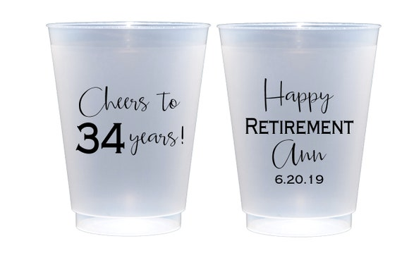 Retirement party cups, Happy retirement, Retirement party favor, Retirement cup, Personalized shatterproof cups, Personalized frosted cups,