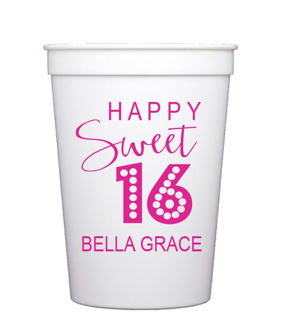 Sweet 16 birthday cups, Sweet sixteen birthday, 16th birthday party cups, Personalized birthday cups, Girls birthday party cups