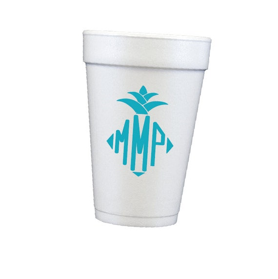Pineapple monogram cups, personalized cups, foam cups, styrofoam cups, monogrammed cups, pool cups, beach cups, housewarming gift idea