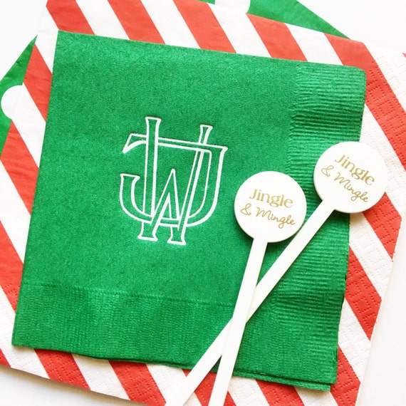 Christmas party decor, Christmas monogamed napkins, Two letter interlocking monogram, personalized guest towels, vintage monogram