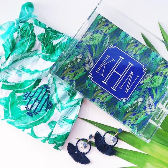 palm print tray, monogrammed tray, acrylic tray, banana leaf print tray, chinoiserie acrylic tray, bar cart tray, bridesmaid gift idea
