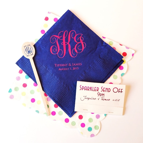 monogram cocktail napkins, reception napkins, wedding napkins, monogrammed napkins, script monogram, wedding reception napkins