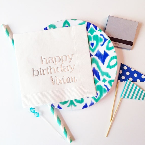 birthday napkins, personalized birthday party napkins, custom cocktail napkins, adult party favor, foil stamped party napkin, adult birthday