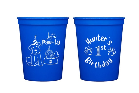 First birthday cups, Dog themed birthday party cups, Let's paw-ty, Dog birthday pawty, Doggie themed party, Personalized birthday cups
