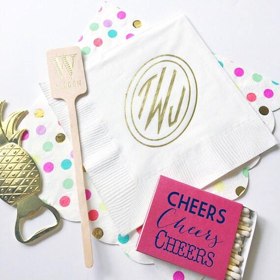 Circle monogram cocktail napkin, monogrammed napkins, foil stamped, personalized napkins, married monogram, reception favor