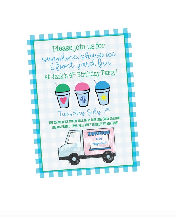 Shaved ice birthday, Snow cone party, Snow cone birthday, Kona ice party, Digital birthday invitation, Drive by birthday, Summer bithday