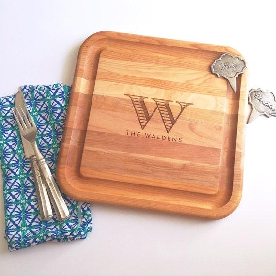 personalized cutting board, hardwood cutting board, monogrammed cutting board, engagement gift, laser cut cutting board, wood serving tray