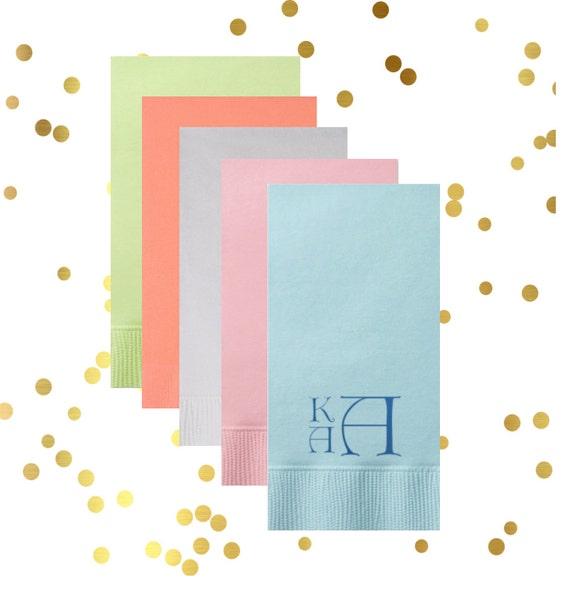 vintage monogram guest towel, personalized napkins, reception guest towels, wedding napkins, hostess gift, engagement party napkins