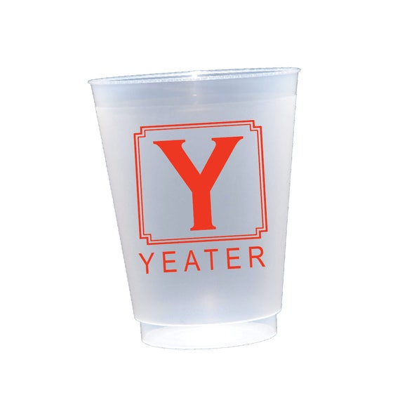 Personalized frosted cups, monogrammed shatterproof cup, personalized plastic cup, housewarming gift, frosted cup gift idea, New home gift