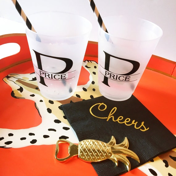 Personalized plastic cups, shatterproof cup, monogrammed plastic cup, party favor, wedding cup favors, reception cups, monogrammed plastic