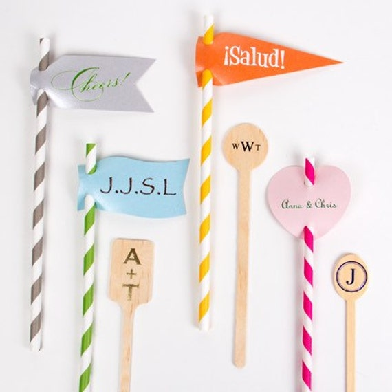 straw flags, Custom straw tags, Monogrammed straw flag, party straws, striped straw, wedding reception straw, bar cart decor