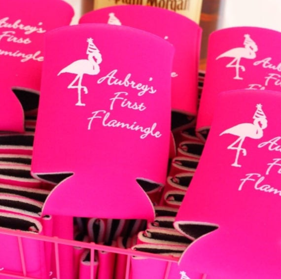 Flamingo birthday party, First birthday, party fabors, personalized party cups, personalized neoprene huggies, birthday party can coolers