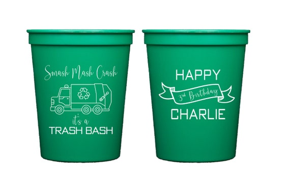 Garbage truck birthday cups, Trash bash birthday, Garbage party cups, Personalized birthday cups, Trash birthday, Recycling birthday