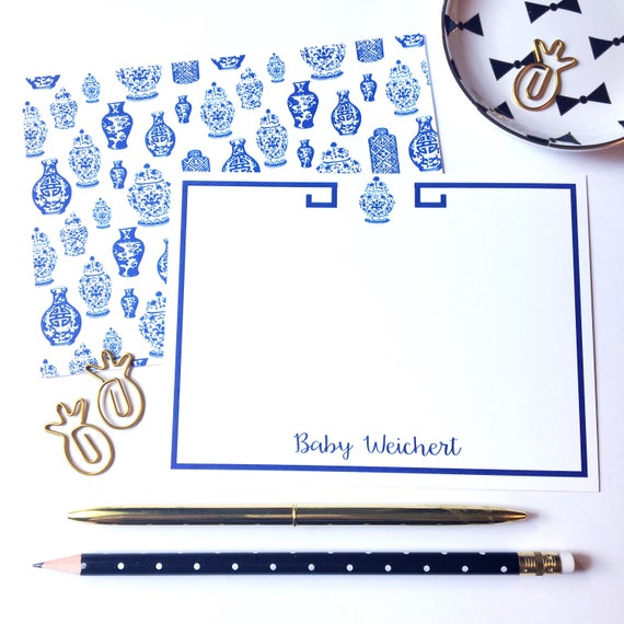 Ginger jar notecards, Ginger jar stationery set, blue and white notecards, greek key stationery, chinoiserie stationery, mothers day gift