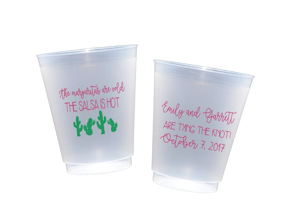 fiesta wedding shower cups personalized plastic cups fiesta party cups couples shower cups stock the bar party fiesta themed shower