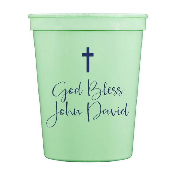 Personalized plastic cups, Baptism cups, Christening cups, First communion cups, Confirmation cups, Easter cups, Monogrammed plastic cups