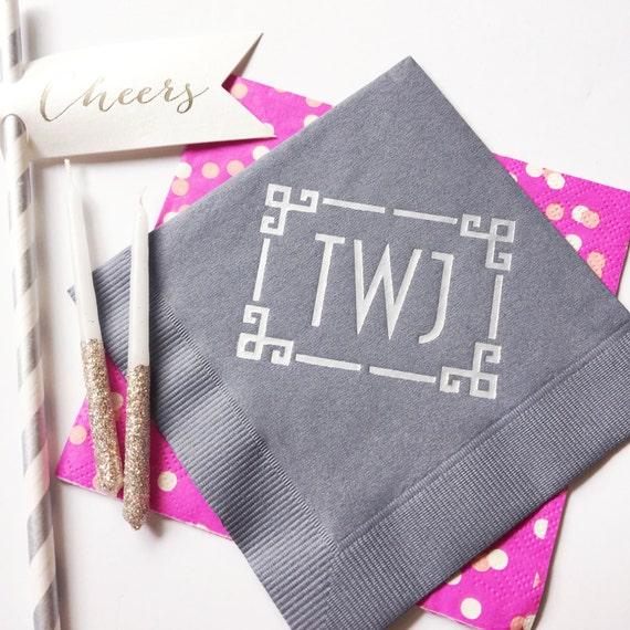 Monogrammed party napkins, personalized parrt napkins, chinoiserie napkins, Monogrammed cups, monogrammed shatterproof cups, frostflex cups