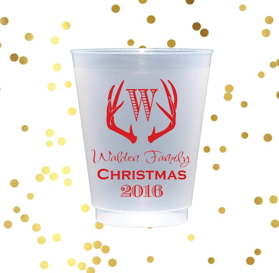 Christmas party cups, antler cups, personalized shatterproof cups, personalized cups, holiday party cups, frosted cups, Holiday party decor