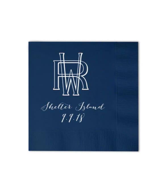 Monogrammed napkins, Wedding napkins, Wedding reception napkins, Custom napkins, Two letter monogram, Vintage monogram, Cocktail napkins