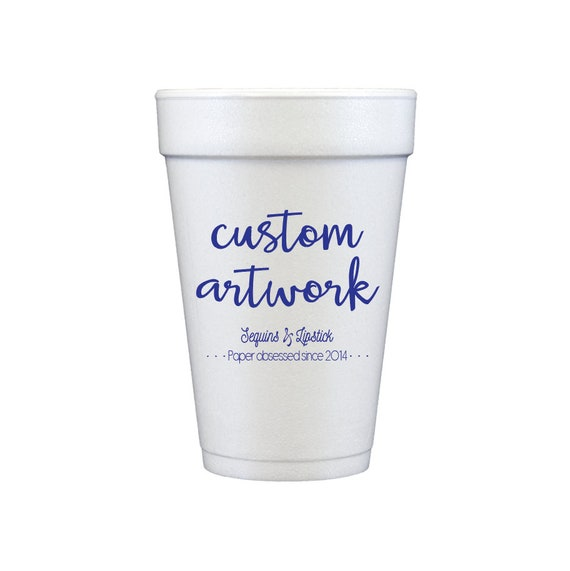 personalized foam cups, personalized cups, party cups, foam cups, custom artwork party cups, wedding reception cups