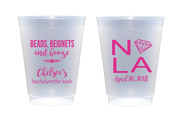 bachelorette party cups, nola bachelorette, beads beignets and booze, new orleans bachelorette party, personalized party cups, custom cups