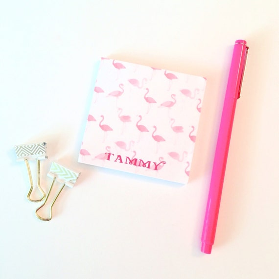 Flamingo Sticky Notes, Personalized Post It Notes, flamingo print, Custom Notepad, Note Pad, Office Supplies, School, flamingos
